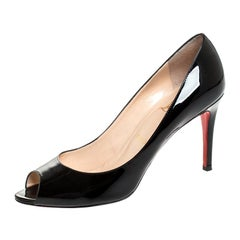 Christian Louboutin Black Patent Leather Evelyn Peep Toe Pumps Size 39.5