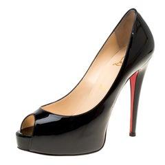 Christian Louboutin Black Patent Leather Hyper Prive Peep Toe Platform Pumps Siz