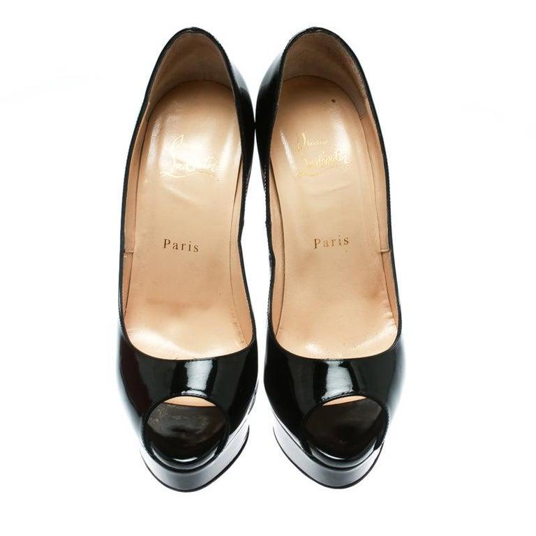info for a1398 5a651 Christian Louboutin Black Patent Leather Lady Peep Toe Platform Pumps Size  38