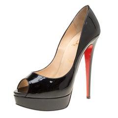 Christian Louboutin Black Patent Leather Lady Peep Toe Platform Pumps Size 40