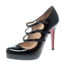 Christian Louboutin Black Patent Leather Lillian Strappy Platform Pumps Size 37.