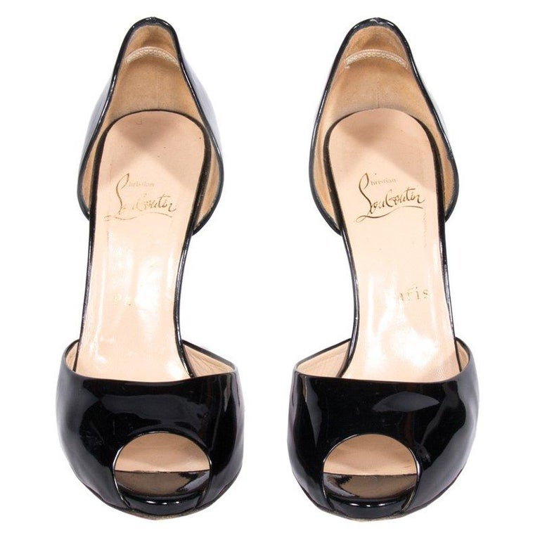 18209c3f530 Christian Louboutin Black Patent Leather Madame Claude D'orsay Pumps Size 39