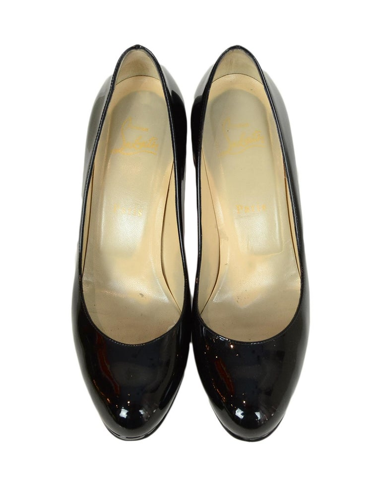 Women's Christian Louboutin Black Patent Leather New Simple 100 Pumps sz 38.5 rt. $795 For Sale