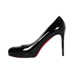 Christian Louboutin Black Patent Leather New Simple 100 Pumps sz 38.5 rt. $795