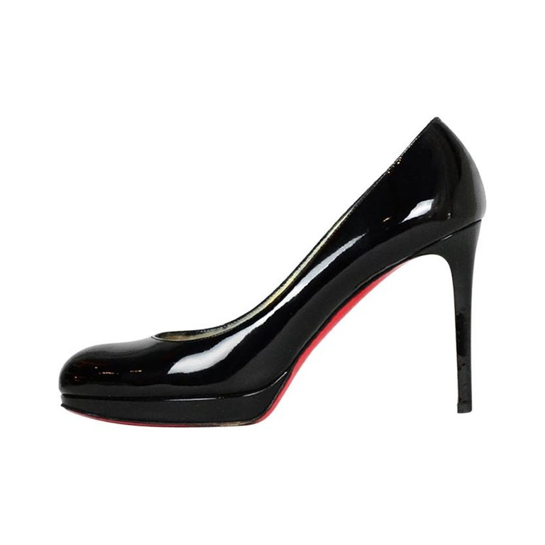 Christian Louboutin Black Patent Leather New Simple 100 Pumps sz 38.5 rt. $795 For Sale