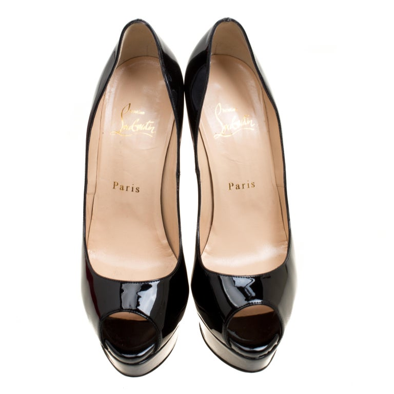 3d9dcc7334f6 Christian Louboutin Black Patent Leather New Very Prive Peep Toe Platform  Pumps In Good Condition For