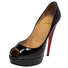 Christian Louboutin Black Patent Leather New Very Prive Pumps Size 38