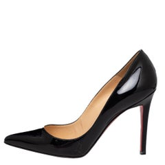 Christian Louboutin Black Patent Leather Pigalle Pointed Toe Pumps Size 37