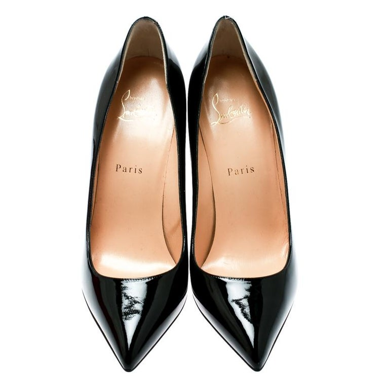 ecfe8de7d6f Christian Louboutin Black Patent Leather Pigalle Pointed Toe Pumps Size 39