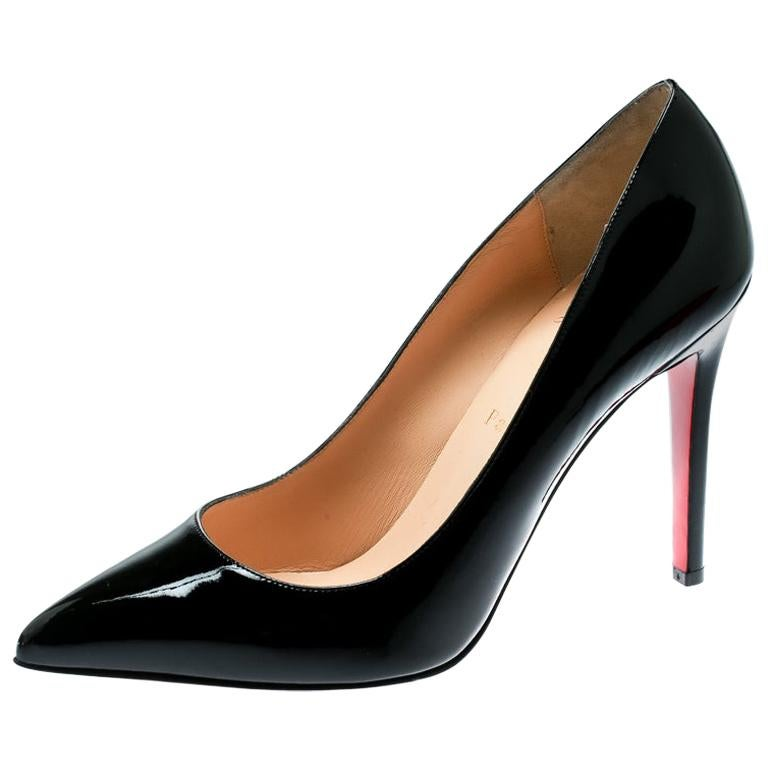 reputable site 21a4f 2d43e Christian Louboutin Black Patent Leather Pigalle Pointed Toe Pumps Size 39