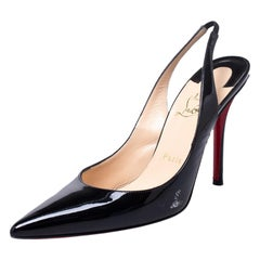 Christian Louboutin Black Patent Leather Pointed Toe Slingback Sandals Size 39