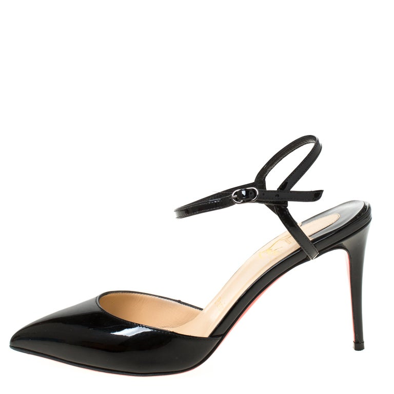 Christian Louboutin Black Patent Leather Rivierina Ankle Strap Sandals Size 36.5 For Sale 1