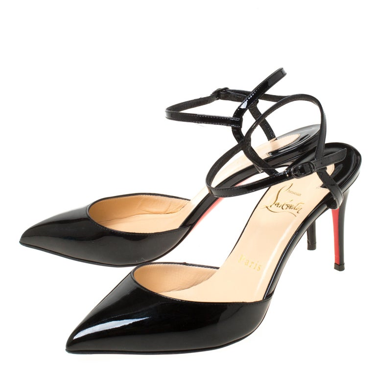 Christian Louboutin Black Patent Leather Rivierina Ankle Strap Sandals Size 36.5 For Sale 2