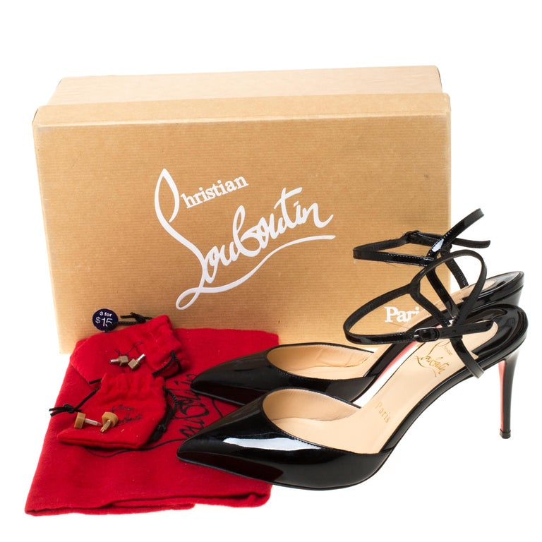 Christian Louboutin Black Patent Leather Rivierina Ankle Strap Sandals Size 36.5 For Sale 4