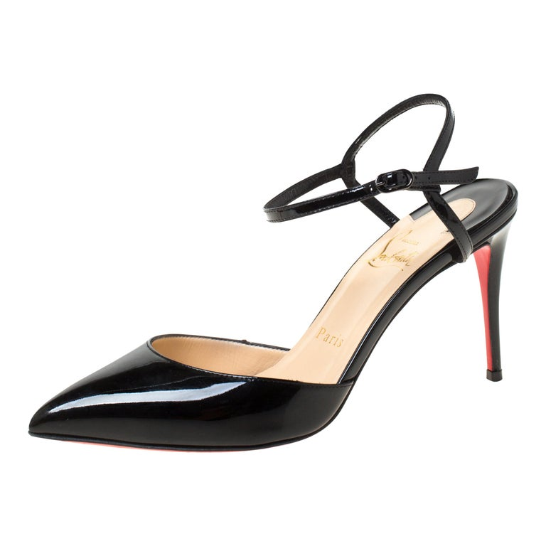 Christian Louboutin Black Patent Leather Rivierina Ankle Strap Sandals Size 36.5 For Sale