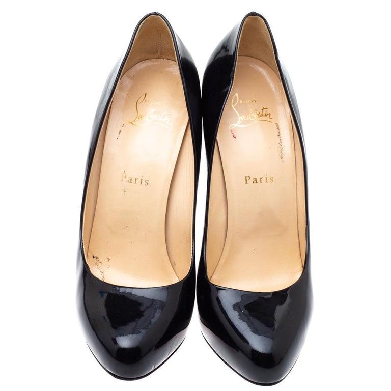 Christian Louboutin Black Patent Leather Rolando Platform Pumps Size 38.5 In Good Condition For Sale In Dubai, Al Qouz 2