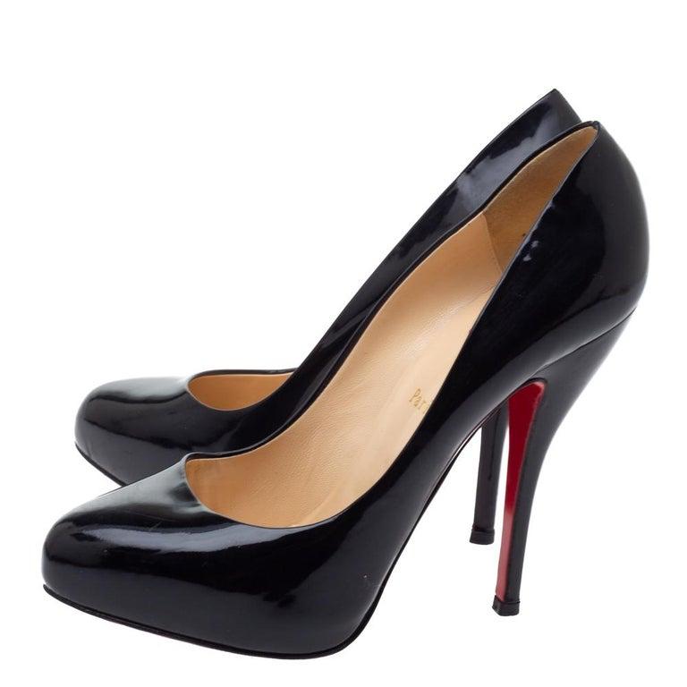 Women's Christian Louboutin Black Patent Leather Rolando Platform Pumps Size 38.5 For Sale