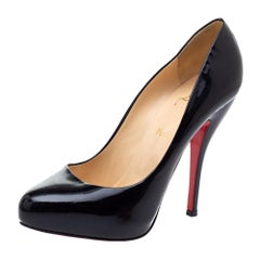Christian Louboutin Black Patent Leather Rolando Platform Pumps Size 38.5