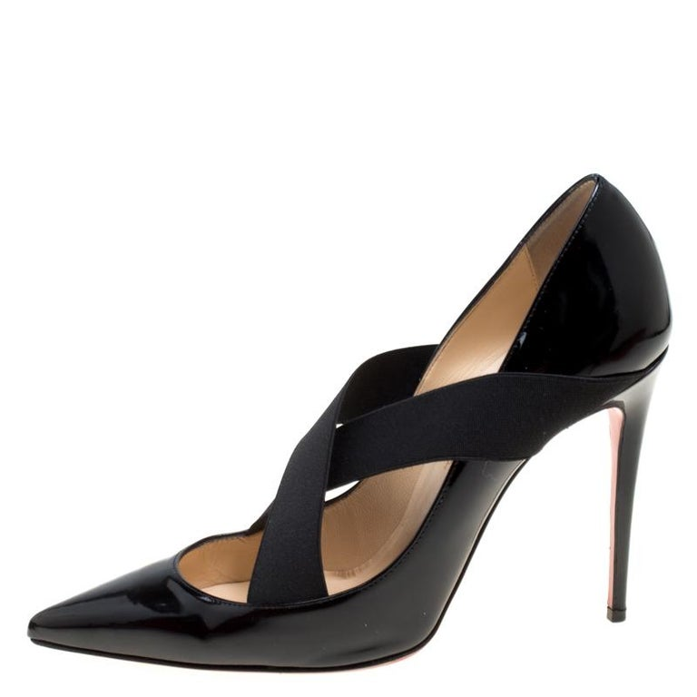 quality design 7fc22 3081e Christian Louboutin Black Patent Leather Sharpstagram Cross Strap Pointed  Toe