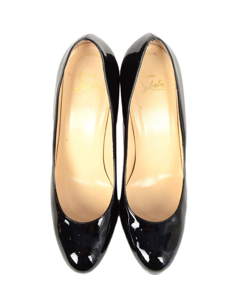 Christian Louboutin Black Patent Leather Simple Pump Sz 41 W/ DB For Sale 1