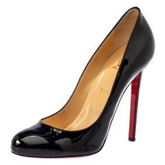 Christian Louboutin Black Patent Leather Simple Pumps Size 40.5