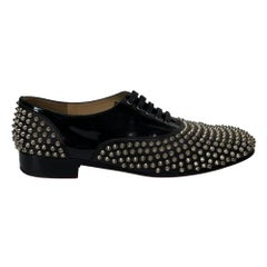 Christian Louboutin Black Patent Leather Spiked Oxfords (45 EU)