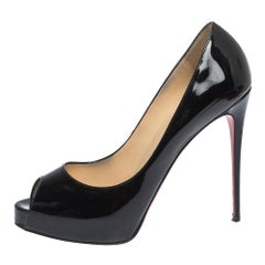 Christian Louboutin Black Patent Leather Very Prive Peep Toe Pumps Size 38