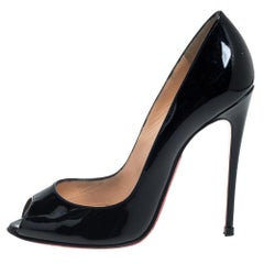 Christian Louboutin Black Patent Leather Very Prive Pumps Size 36.5