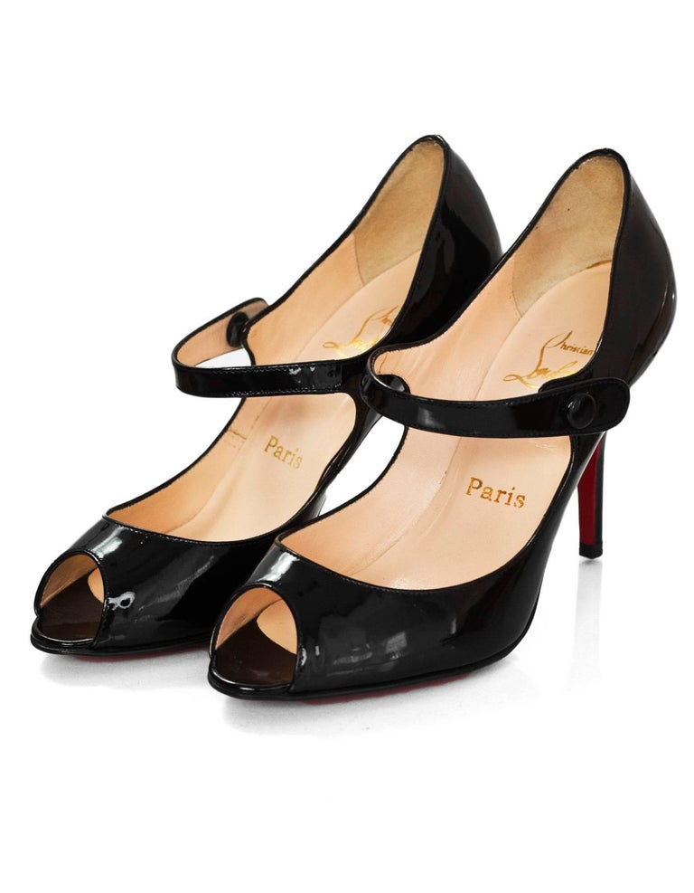 adc459b8fb8 Christian Louboutin Black Patent Peep-Toe Mary Jane Pumps Sz 35.5