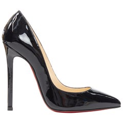 CHRISTIAN LOUBOUTIN black patent pointed toe pigalle high heel pump EU36.5