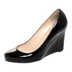 Christian Louboutin Black Patent RonRon Zeppa Wedge Pumps Size 38.5