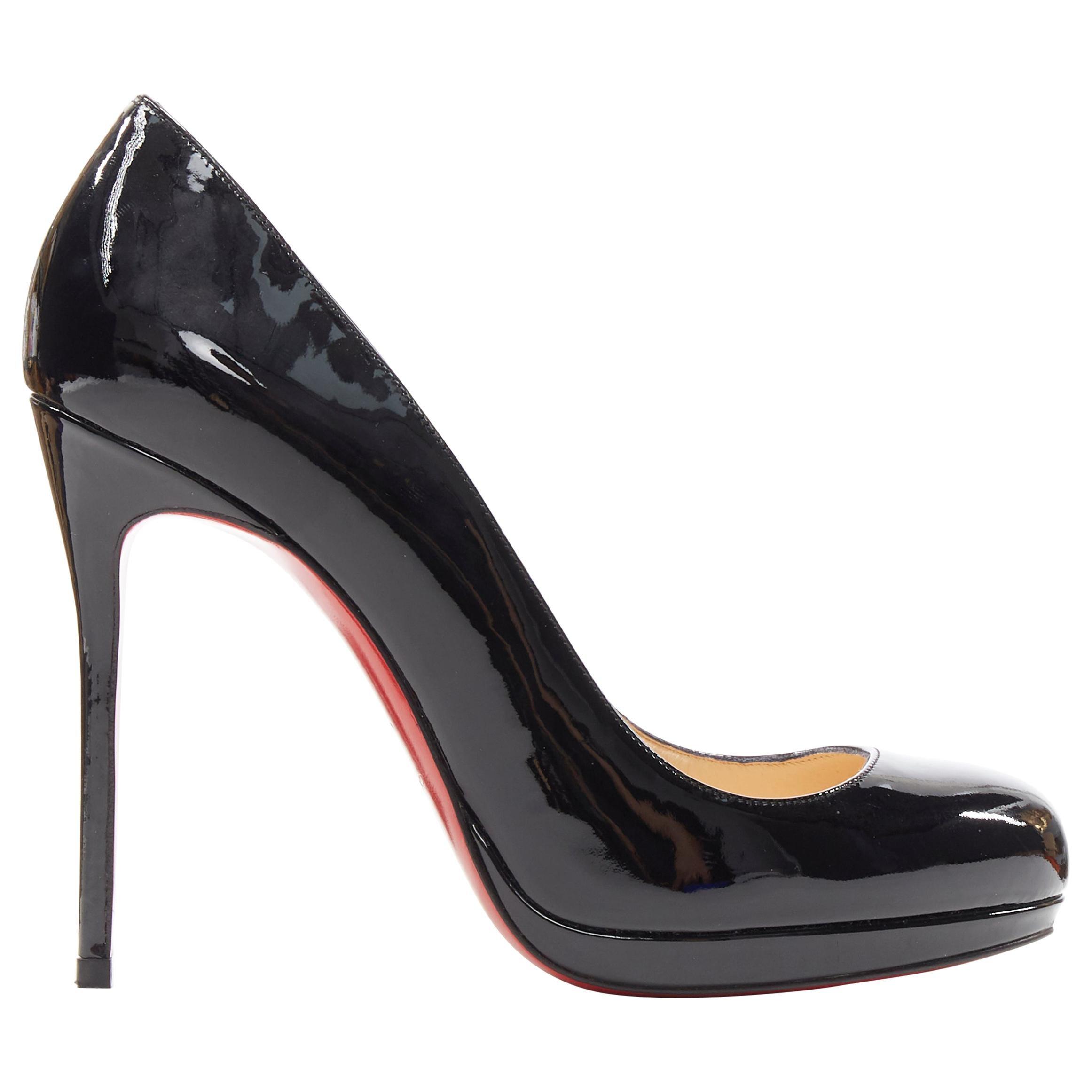 CHRISTIAN LOUBOUTIN black patent round toe platform high heel pump EU37.5