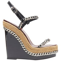 CHRISTIAN LOUBOUTIN black patent silver chain trimmed espadrille wedge EU37