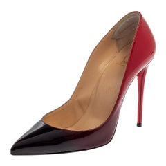 Christian Louboutin Black/Red Patent Leather Pigalle Follies Pumps Size 38