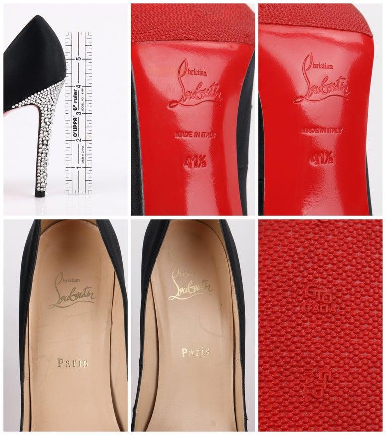 CHRISTIAN LOUBOUTIN Black Satin Pointed Toe Swarvoski Crystal Heel Pumps For Sale 6