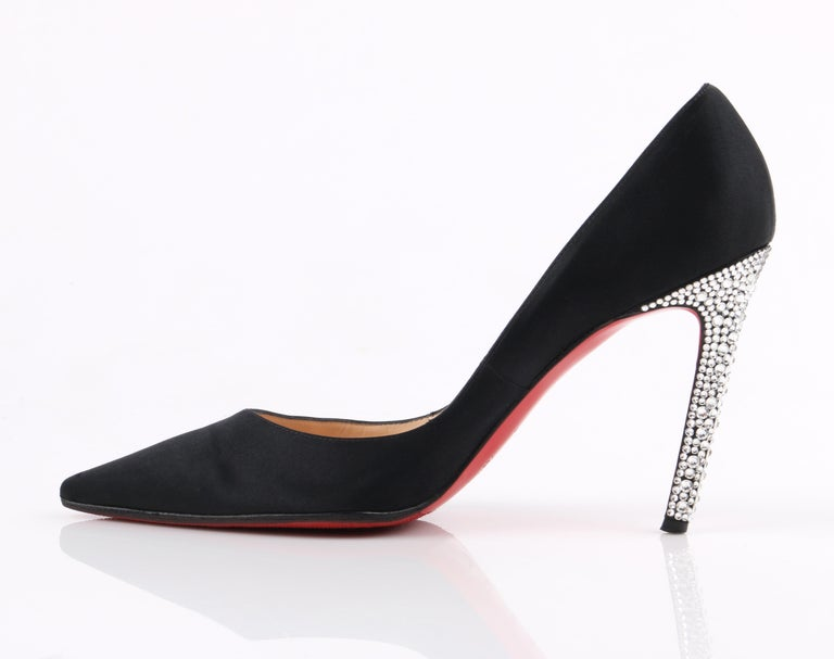 CHRISTIAN LOUBOUTIN Black Satin Pointed Toe Swarvoski Crystal Heel Pumps In Good Condition For Sale In Thiensville, WI