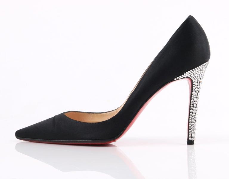Women's CHRISTIAN LOUBOUTIN Black Satin Pointed Toe Swarvoski Crystal Heel Pumps For Sale