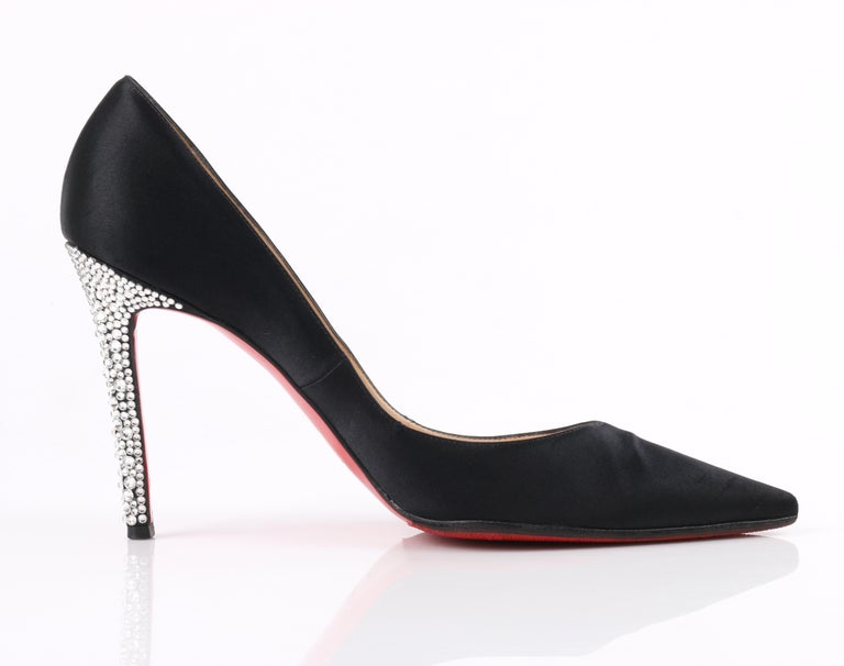CHRISTIAN LOUBOUTIN Black Satin Pointed Toe Swarvoski Crystal Heel Pumps For Sale 1