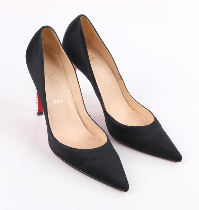 CHRISTIAN LOUBOUTIN Black Satin Pointed Toe Swarvoski Crystal Heel Pumps For Sale 2