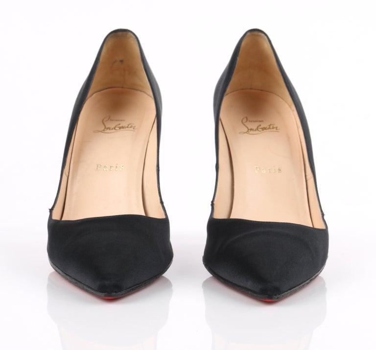 CHRISTIAN LOUBOUTIN Black Satin Pointed Toe Swarvoski Crystal Heel Pumps For Sale 3