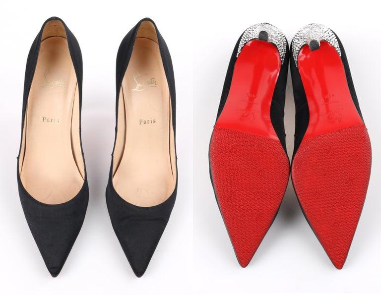 CHRISTIAN LOUBOUTIN Black Satin Pointed Toe Swarvoski Crystal Heel Pumps For Sale 5