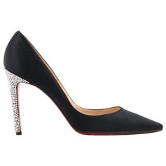 CHRISTIAN LOUBOUTIN Black Satin Pointed Toe Swarvoski Crystal Heel Pumps