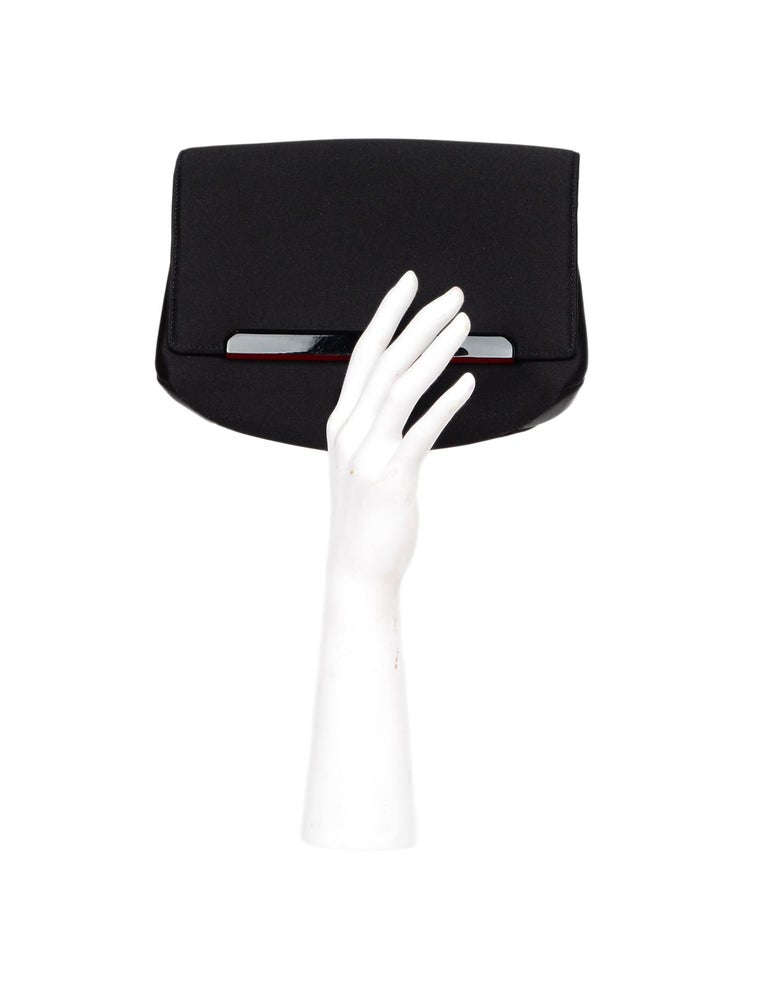 Christian Louboutin Black Satin Small Rougissime Clutch Bag In Excellent Condition For Sale In New York, NY