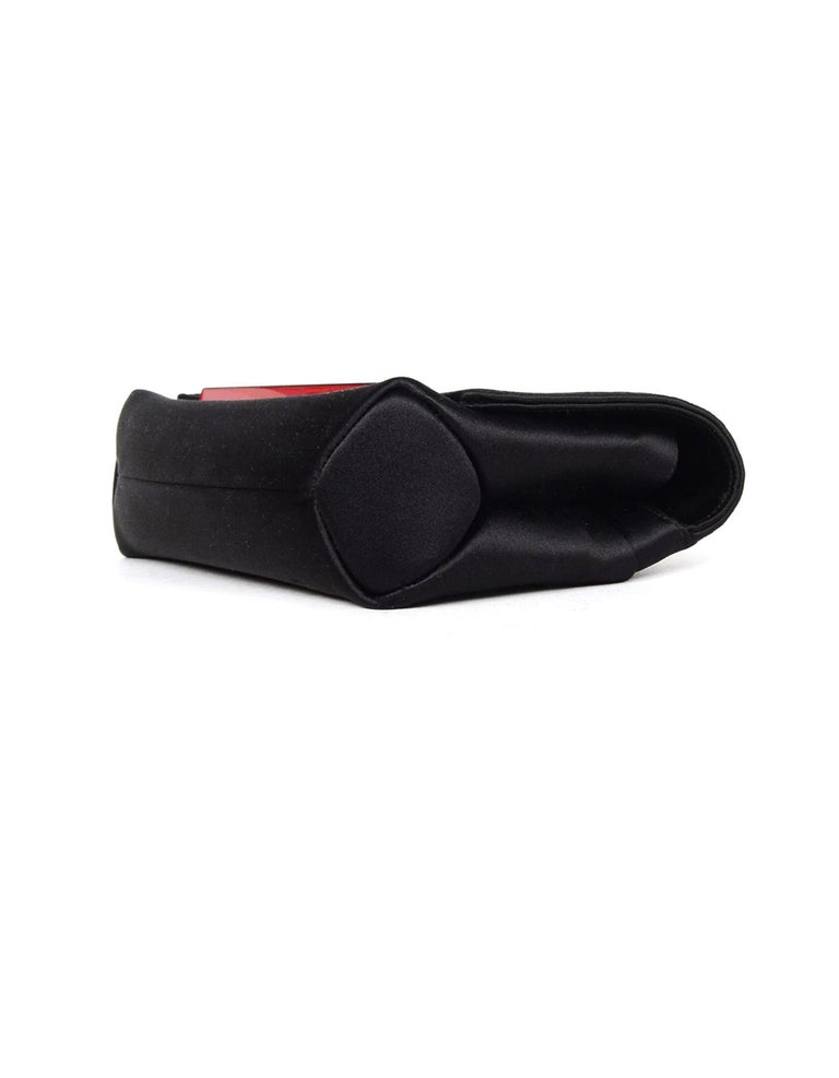 Christian Louboutin Black Satin Small Rougissime Clutch Bag For Sale 1