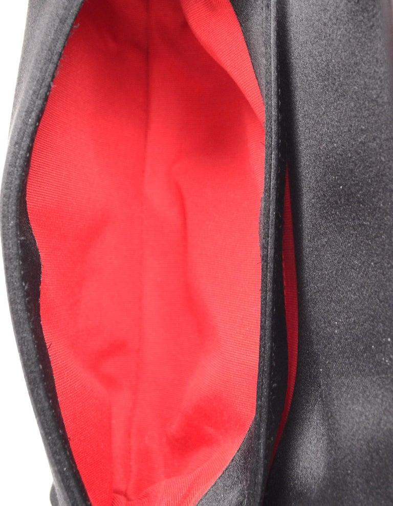 Christian Louboutin Black Satin Small Rougissime Clutch Bag For Sale 3