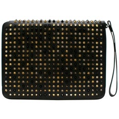 Christian Louboutin Black Spiked Leather iPad Case 27cm