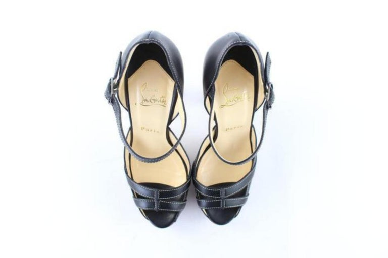 Christian Louboutin Black Strappy Open Toe 19clr1106 Platforms For Sale 7