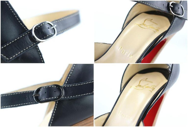 Christian Louboutin Black Strappy Open Toe 19clr1106 Platforms In Excellent Condition For Sale In Forest Hills, NY