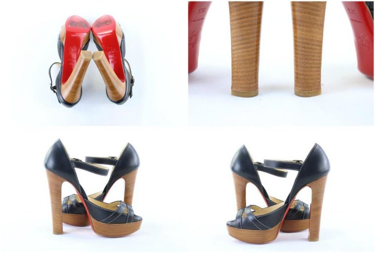 Women's Christian Louboutin Black Strappy Open Toe 19clr1106 Platforms For Sale