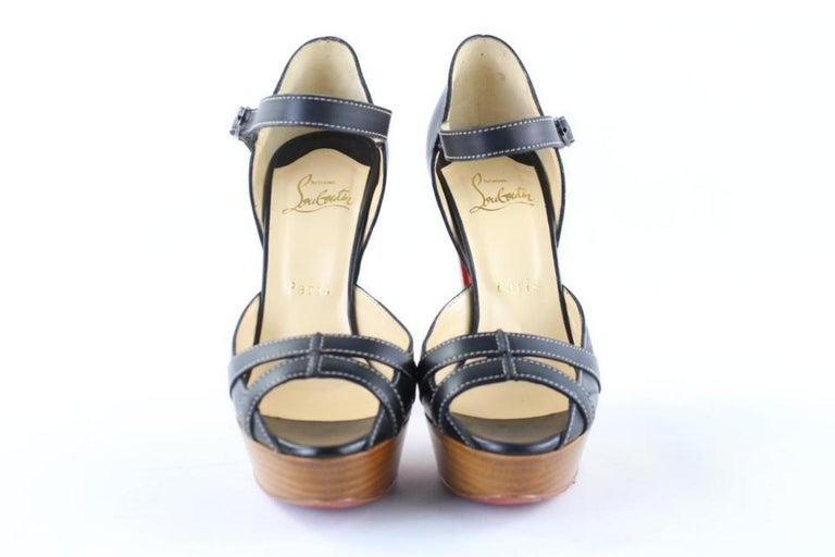 Christian Louboutin Black Strappy Open Toe 19clr1106 Platforms For Sale 2